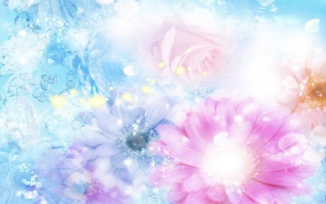Обои розовые, голубые, цветки, размытый, фон, эффекты картинки на рабочий стол, фото скачать бесплатно