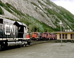 Field BC Wednesday May 30th 1973 1735PST (Hoopy2342) Tags: train rail railroad railway field britishcolumbia bc canadiannational canadiannationalrailways canadianpacific canadianpacificrailway station