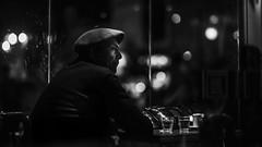 En el café (Diego Epstein) Tags: d600 nikon vivitar 85mm f14 portrait retrato candid candidshot beret boina hat gaucho coffe cafe night bokeh blancoynegro blackandwhite
