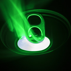 Strange Brew (Joseph Pearson Images) Tags: macromondays hole can ringpull smoke macro square lowlight green
