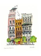 Plaza de S Francisco, Sevilla (wanstrow) Tags: sevilla spain cafe orange drawing trees