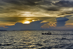 Late fishing (Pawel Wietecha) Tags: fishing fisherman fisher sunset sun clouds sea water red yellow blue boat landscape seascape travel trip sky color light mountain ocean people bay cloud pattaya thailand chonburi
