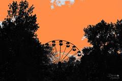 In the amusement park (ucrainis) Tags: dnipro ferris wheel park trees silhouette orange sky popart art black white bw ukraine cloud bigwheel abstract pop city