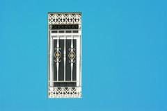 Window with window guards (Jan van der Wolf) Tags: map167309vv wall blue blauw crucedearinaga grancanaria window raam gevel facade simple simpel tralie bar bars windowguards