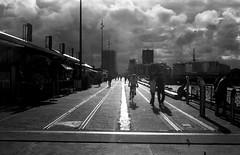 An Urban Path  (FP4+) (Harald Philipp) Tags: auckland newzealand viaduct cbd bike path pedestrian walkway sidewalk urban street industrial kodak retinaiii foldingcamera classiccamera rangefinder film analog monochrome bnw fp4 ilford