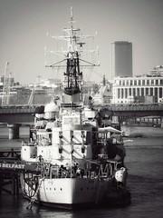 Belfast's Stern from Tower Bridge (marc.barrot) Tags: londonbridge monochrome riverthames warship uk se1 london towerbridge hmsbelfast