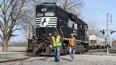 NS B42 Local at Wawaka, Indiana (Troy Strane) Tags: railroad chicagoline tracks locomotive conductor ns norfolksouthern wawaka indiana nikon d850 grain elevator gradecrossing b42