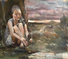 Girl in landscape (Captain Wakefield) Tags: lady contemporary sunset trees sky nature oil acrylic landscape girl woman figurative painting art artist burton samuel