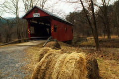 Country Life (Paul D. McCarthy) Tags: washingtoncountypa stream country bridge red haybales coveredbridge sonya6000 minolta24mmf28lens