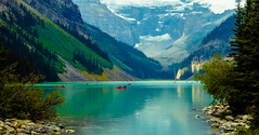 Kayaking in style? (howard1916 - My Personal 'Explore') Tags: lakelouise canada glacier