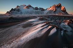 Stokksnes Sunset (Sophie Carr Photography) Tags: stokksnes vestrahorn vesturhorn iceland mountain peaks sunset snow patterns goldenhour