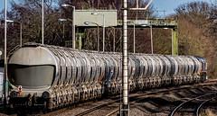 Leaving (Peter Leigh50) Tags: gbrf ketton cement train trees track semaphore signal locomotive railway railroad rail fujifilm fuji xt2 class 66 shed