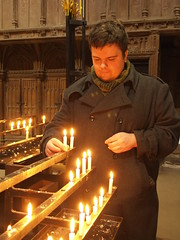 Josh at St Albans Abbey (cycle.nut66) Tags: stalbansabbey hertfordshire old church christian worship martyr norman tower candles jesus low light olympus epl1 evolt micro four thirds mzuiko