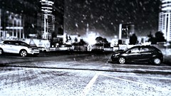 Rain At Night (Ori Liber) Tags: streets street urban blackandwhite winternight israël artistic telaviv dark stormynight stormyweather stormy weather rainynight rainy rainyweather winter rain nightshot night cars car city parking parkinglot