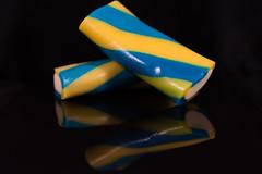 Pick Two: Twisted Candy (Helena Johansson 71) Tags: picktwo macro macromondays candy eatable blue yellow blackbackground mirror nikond5500 d5500 nikon