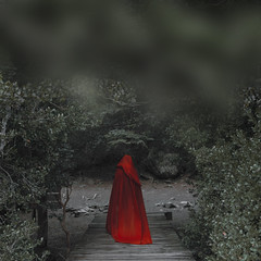 Final way (Kathy Chareun) Tags: art arte ps photoshop lr lightroom green verde red rojo blood sangre hood capa redhood caperuza forest bosque bariloche patagonia argentina tree arbol leaf hojas hoja wood madera retrato autoretrato selfportrait portrait woman mujer femme girl chica fineart witch bruja ghost fantasma