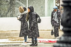 In the middle of the storm. (Capitancapitan) Tags: storm manhattan pentax colors snow winter neury luciano street photography
