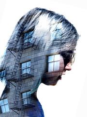 memory palace (Rejon Sarrazine) Tags: head stairs building composite thinking portrait