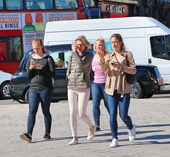 Texting Tourists (Waterford_Man) Tags: girls jeans streets london candid people path
