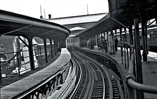 Ninth Avenue El, Manhattan, at South Ferry, looking south, June 3-5, 1940