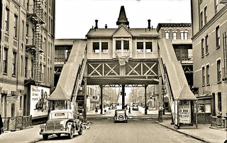 Ninth Avenue El, Manhattan, at 130th Street station east, December 1, 1940
