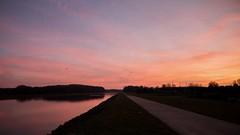 Sunrise (YasmineP) Tags: sunrise soleil lever sky ciel pink orange colors rose clouds nuages 18mm canon eos 7d colours couleurs reflet water reflect sun matin morning canal belgium belgique chemin road lalouvière