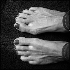 T for toes (Eric.Ray) Tags: february alphabet 2019 365 black white feet toes square canon