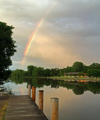 Rainbow over the fox river (kirsten.eide) Tags: wisconsin afterthestorm landscape water river sunset