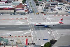 Gibraltar - Plane versus cars (M McBey) Tags: gibraltar airport takeoff road traffic crossing airbus aircraft geuuk