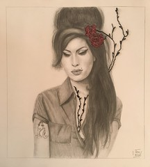 Amy Winehause retrato (bea.rebollar.martinez) Tags: retrato lapiz y bordado de amy winehause dibujo drawing pencil arte art portrait