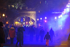 Quebec City (albyn.davis) Tags: night light lights people blue quebec canada arch colors streetlamp travel atmosphere