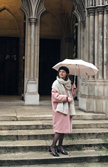 Pretty Girl at Church (cowyeow) Tags: stmarylebone london england europe unitedkingdom uk city street building old church architecture historical kingscross st door steps urban travel girl woman candid portrait pretty cute young doors pink