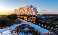 44871 | Heap Bridge | 2nd Feb '19 (Frank Richards Photography) Tags: east lancashire railway black 5 44871 train locomotive england elr uk nikon d7100 february 2019 2nd snow bury heywood sunset glint golden light ian riley