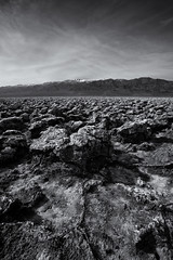 Obstacles (Travis Rhoads) Tags: 2019 sonyilce7rm2a7rii sony1635f28gm reallyrightstuff ba72l bh55 rrspcl01 tvc33 blackwhite clouds desert landscapephotography monochrome mountains nationalpark nikcollectionbygoogle textures copyright2019 travisrhoadsphotography california deathvalleynationalpark devilsgolfcourse focusstacking