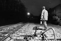 Watching the roll by. (DirtyDeeble67) Tags: blackandwhite blackandwhitephotography mood longexposure longexposurephotography freighttrain night nighttime nightphotography rbmn readingandnorthern reading readingnorthern nikon d750 nikond750 trains winter penobscot pennsylvania emd emdsd402