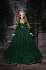 Emerald Night (AyuAna) Tags: bjd ball jointed doll dollfie abjd bjddoll bjdhobby bjdphoto bjdphotography legitdoll ayuana design minidesign handmade ooak clothing clothes dress set outfit gown robe vetement habilles sd sd13 sd10 size historical edwardian victorian style sewing sewingfordolls fashion couture kanadoll bambi hybrid sadol love60 body whiteskin
