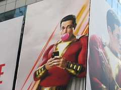 Shazam The Big Red Cheese Billboard 42nd St NYC 3723 (Brechtbug) Tags: shazam billboard 42nd street new captain marvel the big red cheese poster ad nyc 2019 times square movie billboards york city work working worker paint painting advertisement dc comic comics hero superhero alien dark knight bat adventure national periodicals publication book character near broadway shield s insignia blue forty second st fortysecond 03142019 lightning flight flying march