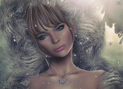 Brianna~New Year, New beginnings (Skip Staheli *10 YEARS SL PHOTOGRAPHER*) Tags: avatar virtualworld dreamy digitalpainting briannaberesford skipstaheli secondlife sl snow snowflakes winter fur portrait closeup