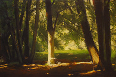 In the spotlight (Daria Kucharczyk (LionheART)) Tags: art artist artwork artschool forest summer light realistic realism tree trees detail landscape nature pastel painting sunset