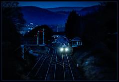 Full beam (Blaydon52C) Tags: ulverston light flasks nuclear blue hour signal semaphore box cumbria fearless drs direct rail services dark hills purple bluehour lowlight nukes sellafield waste nuke