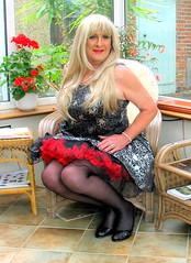Godivatutusit-001 (fionaxxcd) Tags: crossdresser crossdressing transvestite tranny trannie m2f mtf gurlboi stilettos frillypetticoat bust rednails redlips longblondehair blacktights blackpantyhose