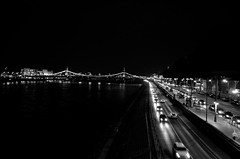 Night On The Danube (The_Kevster) Tags: budapest hungary europe centraleurope magyar eu nikon nikond7000 dslr capital danube monochrome bw blackandwhite night traffic cars river bridge light buda