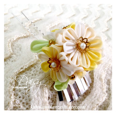 Daisy Kusudama (Kurokami) Tags: lindsay ontario canada kimono japan japanese asia asian woman women girl girls lady ladies traditional kitsuke tsumami kanzashi hair ornament ornaments folded flower flowers floral daisy kusudama silver flutter bira pin pins white beige yellow green faux pearl bead cap gold polyester hot glue
