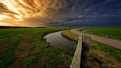 Over The Fence And Far Away (Alfred Grupstra) Tags: nature grass landscape sky outdoors ruralscene cloudsky summer footpath scenics water blue cloudscape meadow sunset nopeople greencolor field beautyinnature road 823