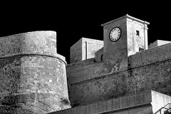Fortifications (albireo 2006) Tags: gozo malta cittadella fortifications bastion blackwhitephotos blackandwhite blackandwhitephotos blackwhite bw bn clock clockwithouthands