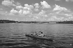 Paddling the Dnieper river (ucrainis) Tags: paddling river dnieper zaporizhzhia ukraine riverscape dniprohes landscape monochrome black white bw sport kayak paddle people pair water