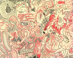 Software Runs Rampant (Daniel Ari Friedman) Tags: daniel friedman danielarifriedman art music science creative drawing paper pen ink freehand red black
