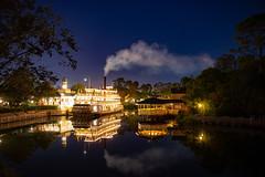 Magic Kingdom (rebeccahspear) Tags: disney magic kingdom magickingdom reflection sky evening night lights longexposure steamboat nikon d600 steam 2460mm nikkor