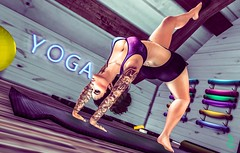 .CUZYOGADUH. (Adeline.Velinov - [QUOTH] Designs & Photostudio) Tags: virtual world life second digital art yoga pose mat neon sign female woman avatar lady tattoo tattooed fitness physical health