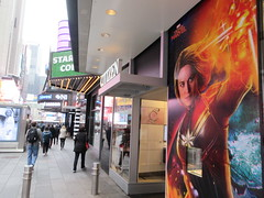 Captain Marvel Billboard Wall AD Times Square NYC 5843 (Brechtbug) Tags: captain marvel space avenger type billboard wall ad times square brie larson carol danvers vers intergalactic soldier shield comic book super hero movie poster theatre holiday ornaments film broadway 43rd street 7th avenue new york city 04122019 nyc advertisement pop popular art mural american star police blue sky march 2019 comics comicbook books comicbooks crime fighter
